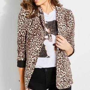Guess NWT Classic Stefani Leopard Notch Blazer